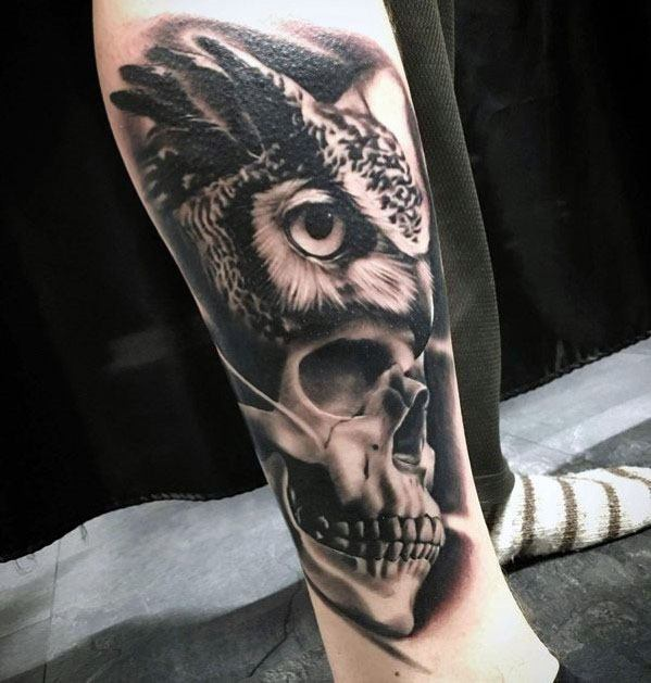 Male 3d Leg Cool Owl Skull Tattoo Ideas