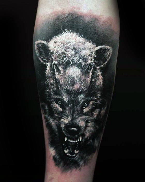 Male 3d Realistic Forearm Wolf In Sheeps Clothing Tattoo Ideas