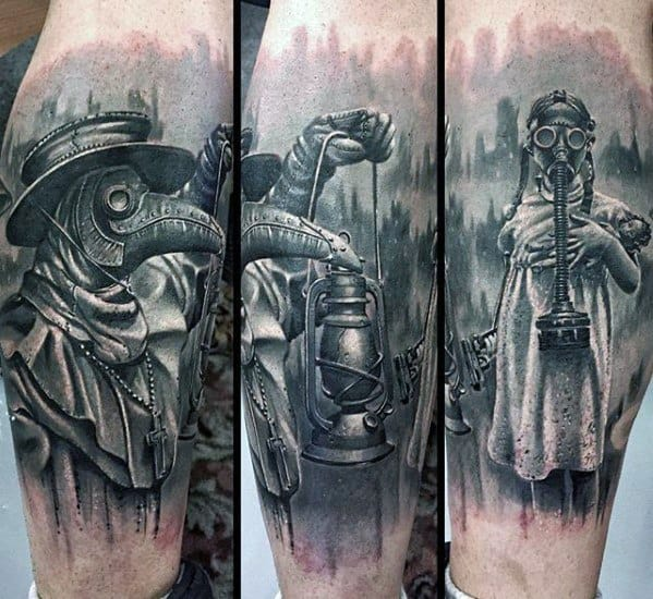 Male 3d Realistic Leg Plague Doctor Tattoo Ideas