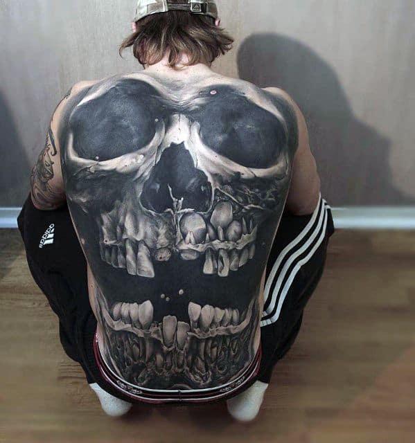 Male 3d Skull Back Tattoo Design Inspiration