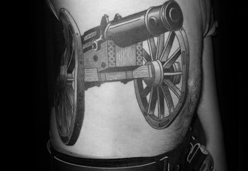 Male 3d Tattoo With Giant Cannon Design On Rib Cage Side