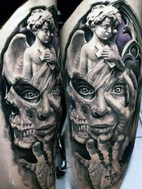 Male 3d Tattoo With Surrealism Design