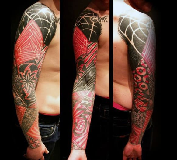 Male Abstract Red Ink Sleeve Tattoo Design Ideas