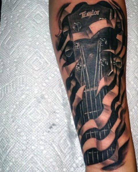 Male Acoustic Guitar Tattoos Designs