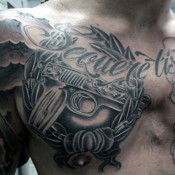 Male Aesthetic Pistol Tattoo Design On Chest