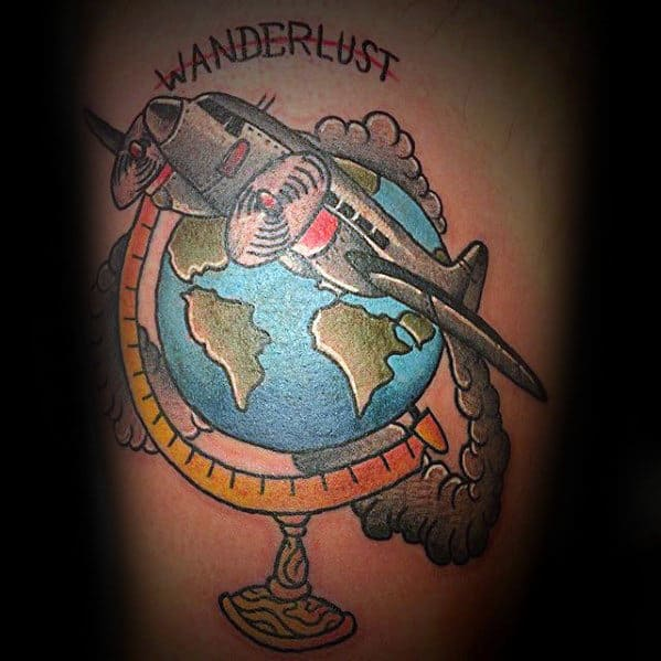 Male Airplane Flying Over Globe Wanderlust Thigh Tattoo Designs