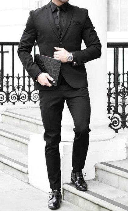 Find and save ideas about Black men's fashion on Pinterest. | See more ideas about Black men fashion style, Black men styles and Black on black mens fashion. All black suit look-another one that could be more suited to the theme Stand out among other stylish civilians in a black suit and a black crew-neck t-shirt. Black leather oxford shoes.