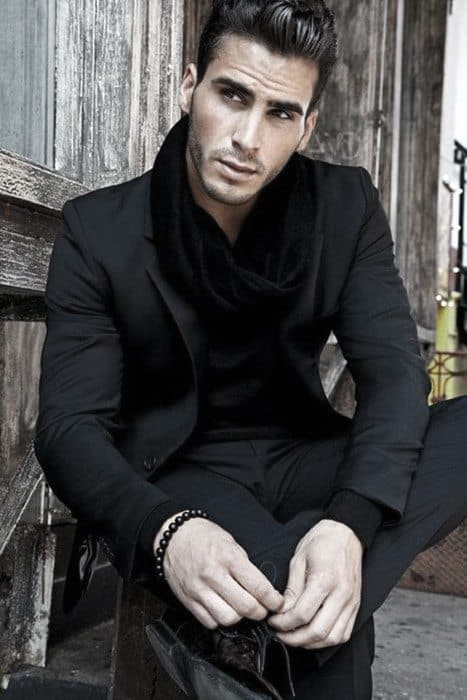 Male All Black Outfits With Suit And Scarf