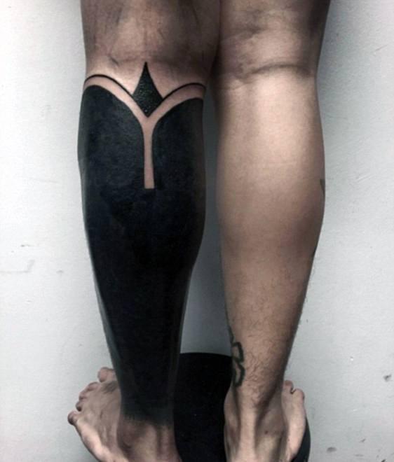 Male All Black Solid Ink Half Leg Sleeve Tattoo Ideas