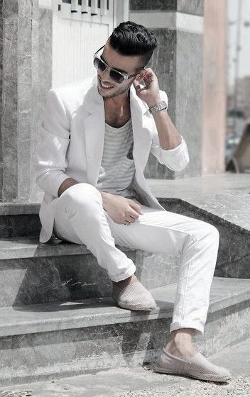 Male All White Outfits Look Ideas