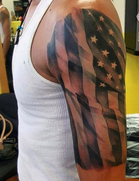 Male American Flag Arm Military Tattoo