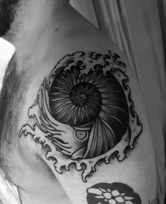 Male Ammonite Tattoo Ideas On Upper Arm
