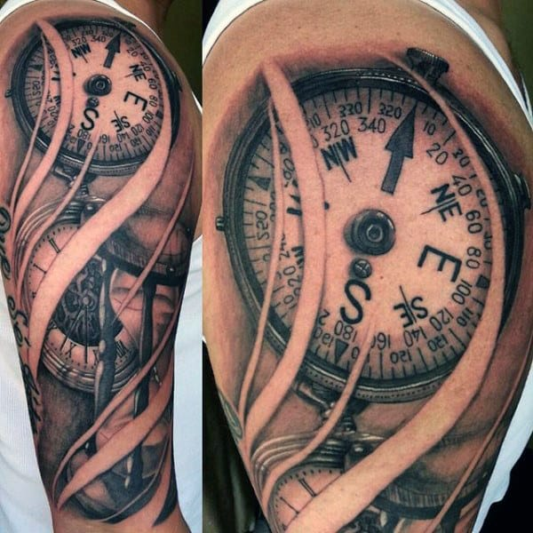 Traditional Anchor Compass Tattoo