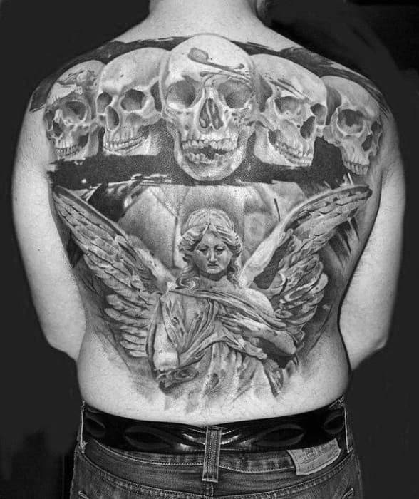 Male Angel Statue With Skulls Back Tattoo Design Inspiration