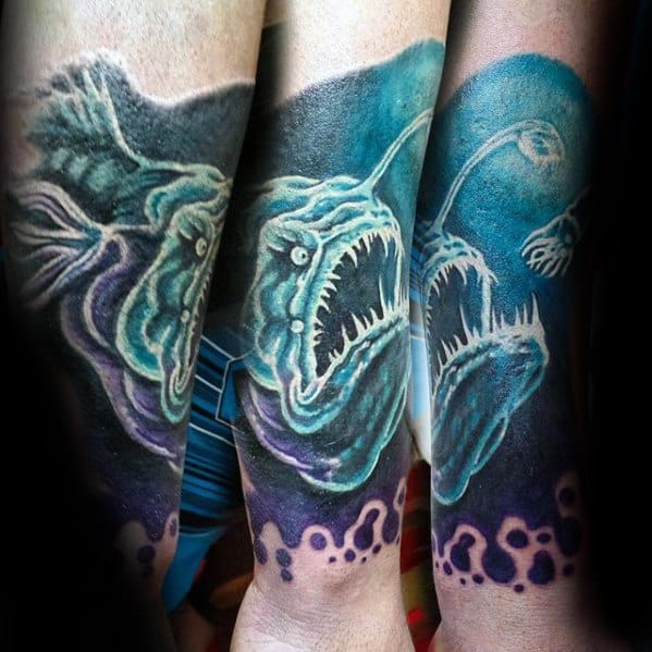 Male Angler Fish Tattoo Design Inspiration Forearm Sleeve