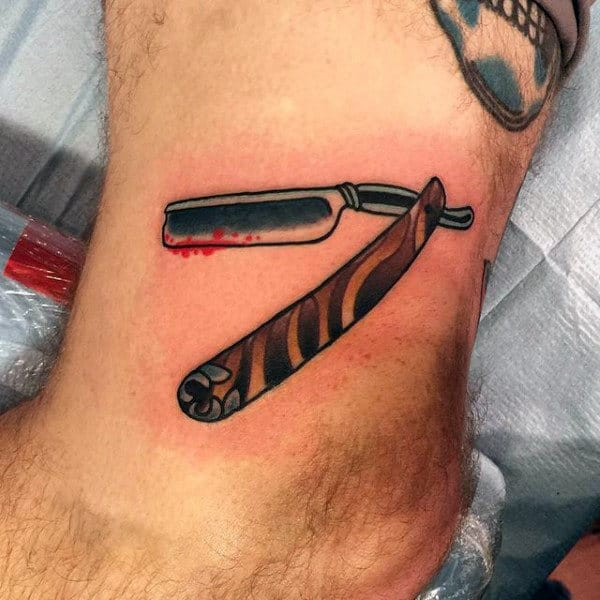 Male Ankle Straight Razor Tattoo With Blood