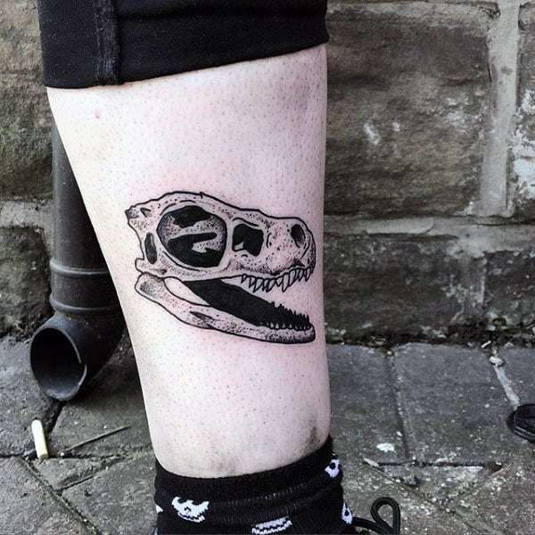 Male Ankles Dinosaur Bones Tattoo