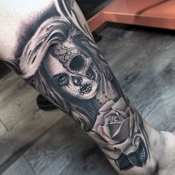 Male Ankles One Eyed Lady And Rose Day Of The Dead Tattoo