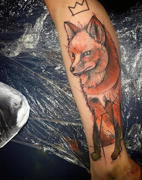 Male Ankles Orange Fox Tattoo