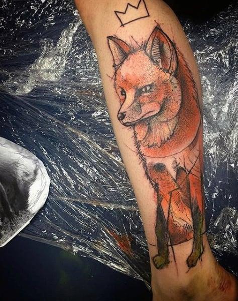Male Ankles Orange Fox Tattoo