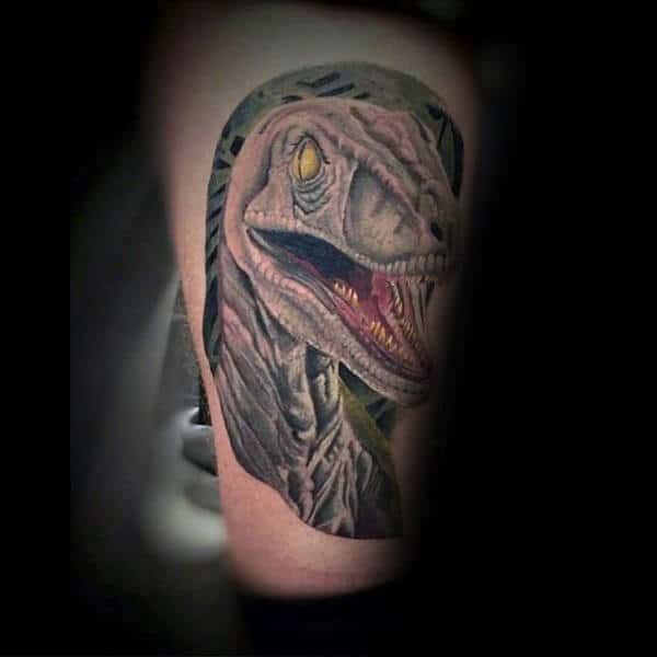 Male Ankles Red Tongued Dinosaur Tatto