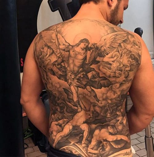 Male Arch Angel Micheal Back Tattoo