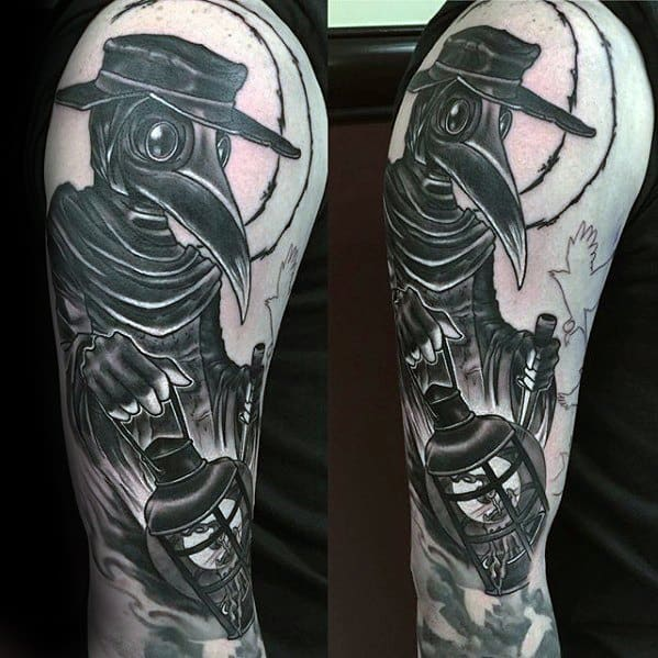 Male Arm Plague Doctor Tattoo Design Inspiration