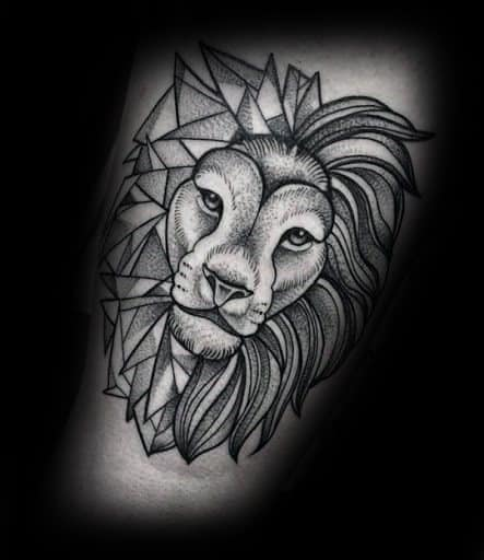 Male Arm Shaded Geometric Lion Tattoo