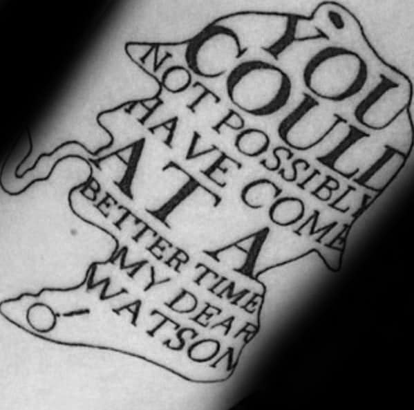 Male Arm Tattoo With Sherlock Holmes Quote Design