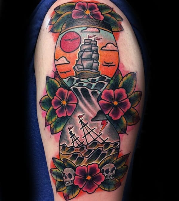 Male Arm Traditional Hourglass Floral Tattoo Ideas