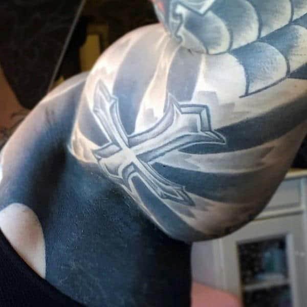 Male Armpits Black Patch Tattoo