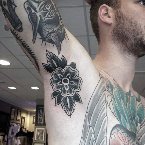 Male Armpits Flower Tattoo