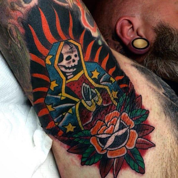Male Armpits Praying Skull Tattoo