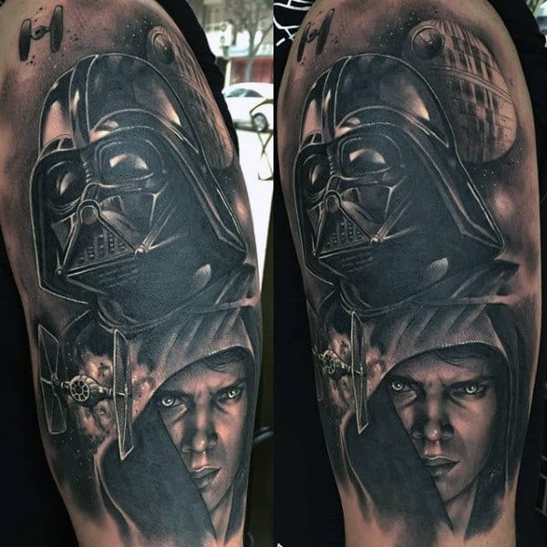 Male Arms Amazing Darth Vader Tattoo