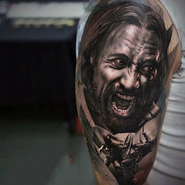 Male Arms Black And Grey Screaming Man Face Tattoo