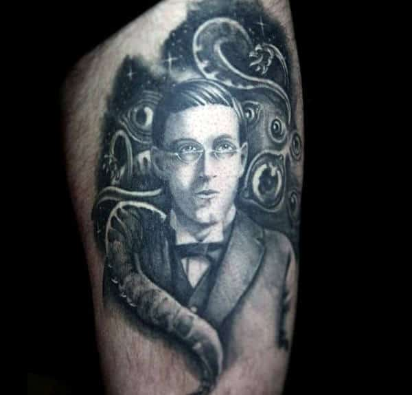 Male Arms Black And White Bespectacled Man Tattoo
