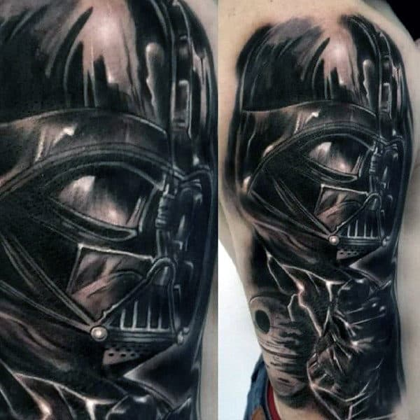 Male Arms Black Darth Vader Tattoo