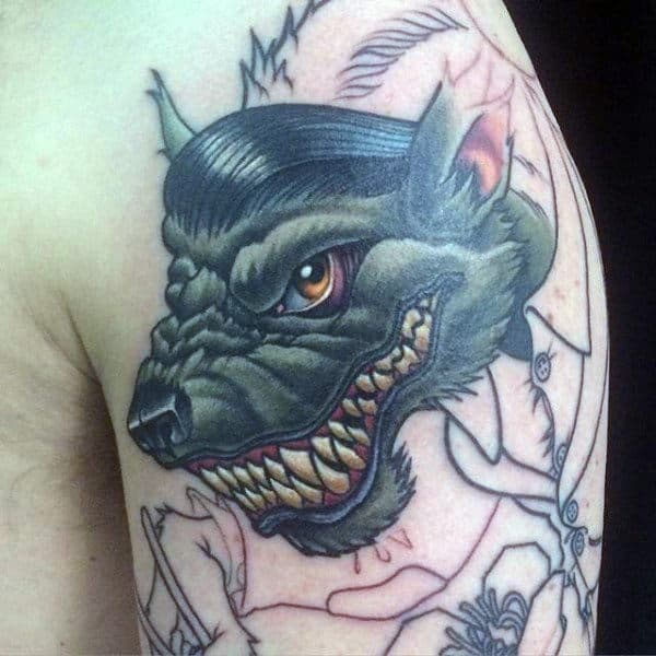 Male Arms Black Werewolf Head Tattoo
