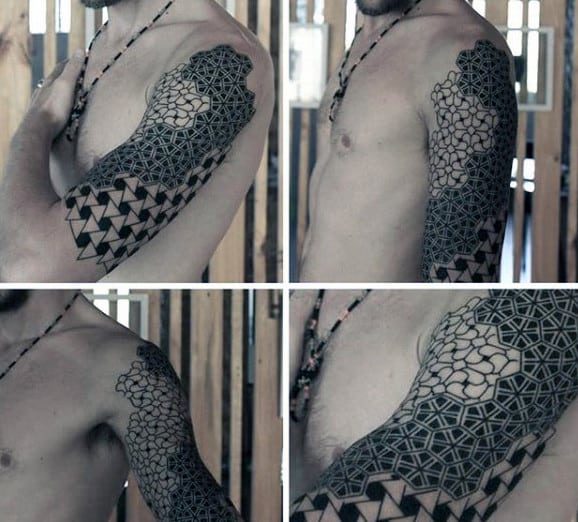 Male Arms Black White Pattern Tattoo