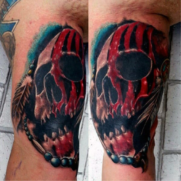 Male Arms Bloody Skull And Brown Feather Tattoo