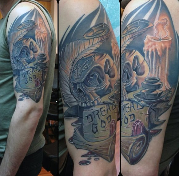 Male Arms Burning Candle New School Tattoo