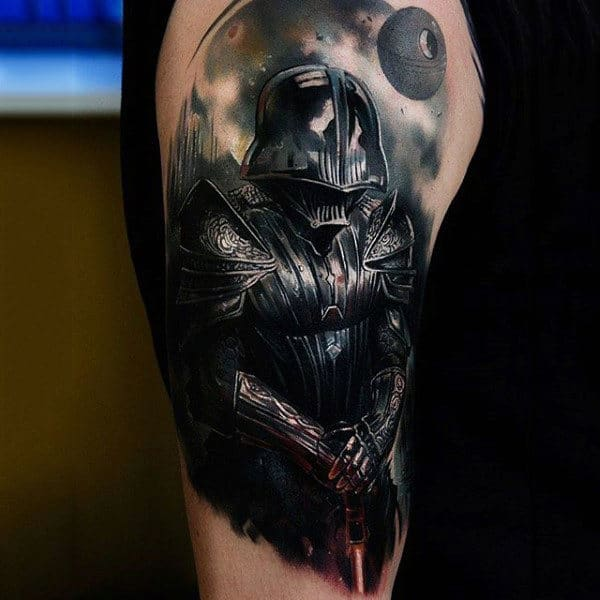 Male Arms Darth Vader Light Saber Tattoo