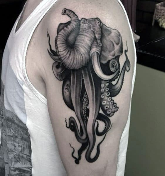 Male Arms Elephant And Squids Tattoo