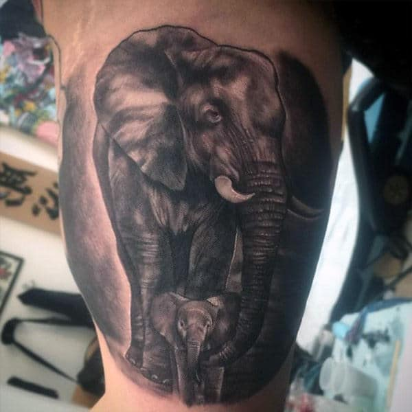 Male Arms Elephant Holding Baby With Trunk Tattoo