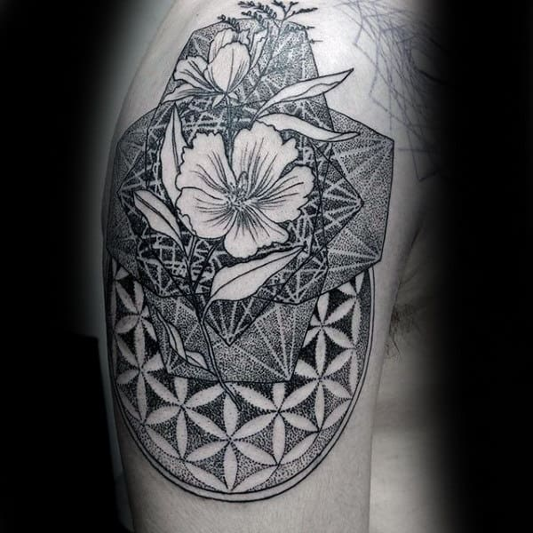 Male Arms Floral Dotwork Tattoo