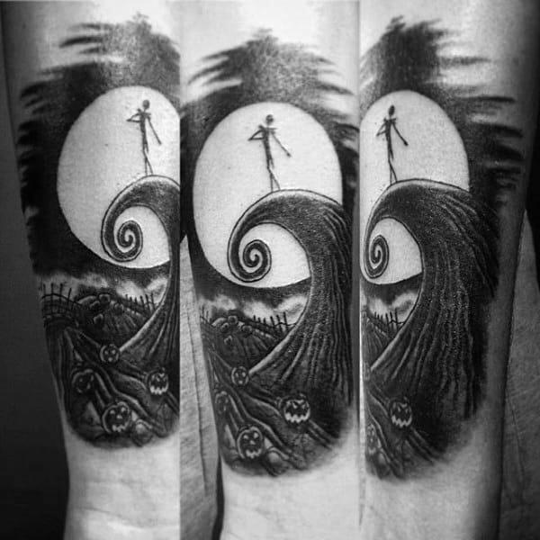 Male Arms Full Moon Grey Halloween Tattoo
