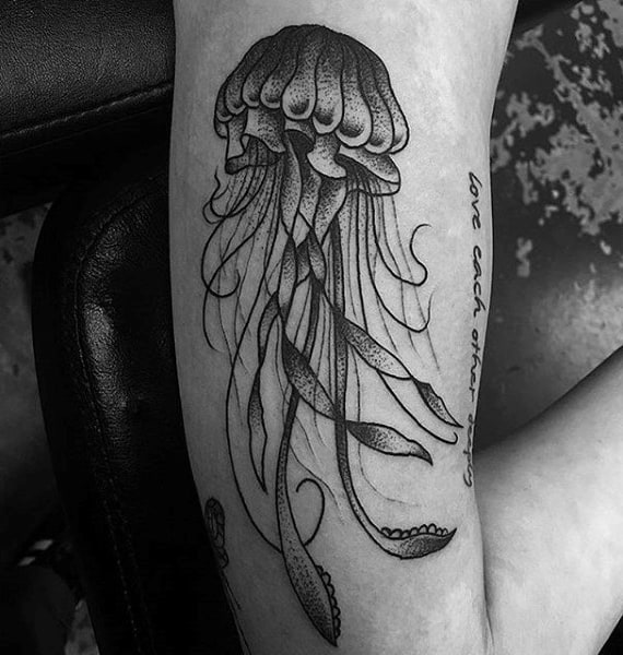 Male Arms Grey Dotted Jellyfish Tattoo