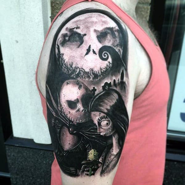 Male Arms Grey Halloween Romance Tattoo