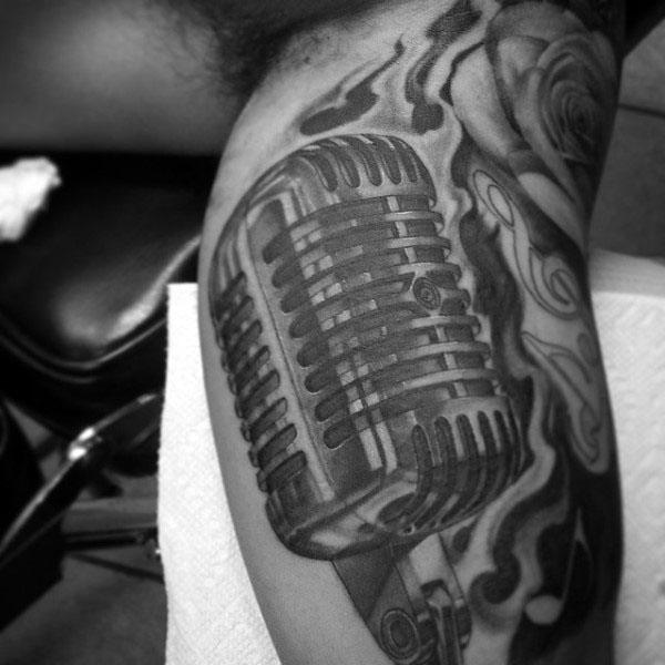 Male Arms Grey Microphone Tattoo