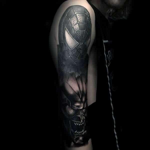 Male Arms Grey Shiny Spiderman Tattoo